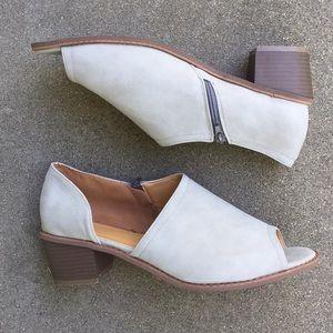 Shoes - Gray Open Toe Shank Cutout Side Zip Ankle Bootie